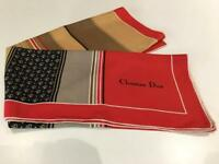 Vintage Big Christian Dior Big Silk Scarf in Red/Brown Tones