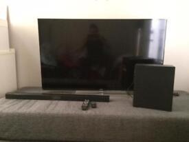 "Samsung 55"" H6670 HD smart tv with Samsung sound bar & sub woofer."