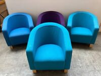 TEAL FABRIC OFFICE TUB CHAIR, RECEPTION,OFFICE, MEETING. OTHER COLOURS AVAILABLE