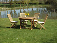 Solid teak 120 cm oval garden table and 4 teak folding chairs-brand new