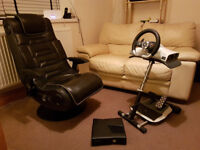 XBox 360, Chair, Wheel, pedals and Stand