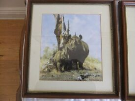 DAVID SHEPHERD PRINT OF A RHINO MOTHER & BABY FRAMED PRINT IN GOOD CONDITION SIGNED IN PENCIL £28