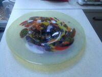 Large beautiful Romanian handmade glass plate/bowl, multi-coloured, excellent condition