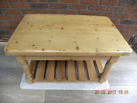 Waxed pine coffee table in excellent condition and very chunky! Size 910x600x500mm. high.