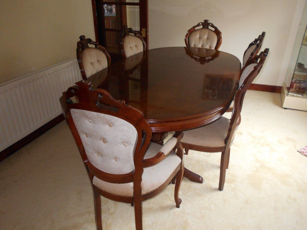 Italian Large Oval Dining Table Chairs Plus Carvers In - Oval dining table for 4