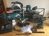 new makita 18v complete set: skill saw+grinder+sander+combidrill+impact+lamp+charger+2x4ah+charger