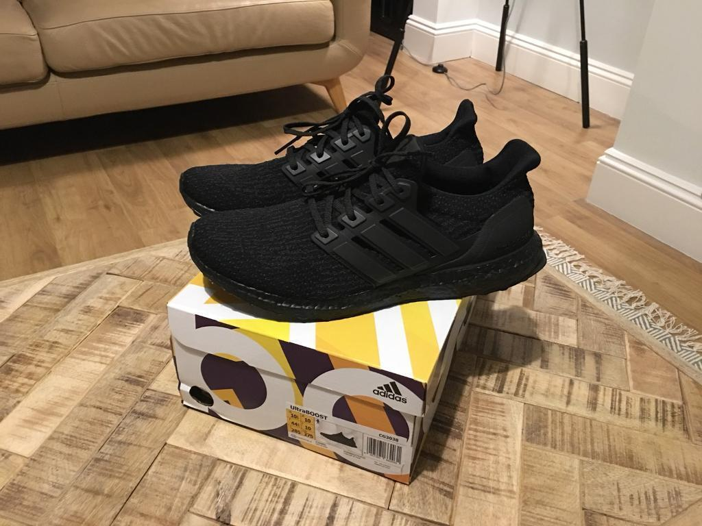 Adidas triple black ultraboost trainers size 10