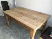Solid pine table with faux leather chairs