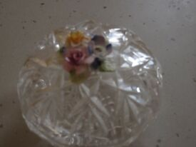 Vintage glass trinket box with bone china flower decoration