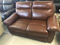 New Designer Tan 100 % Leather 2 Seater Recliner Sofa