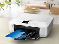 White Canon pixma MG5650 wifi Printer with black and coloured ink