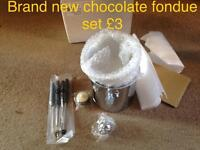Chocolate fondue set unused