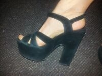 Urban Outfitter Black Platform Heel Suede