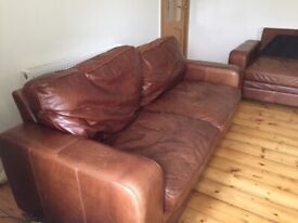 Two Large Vintage Brown Leather Sofas