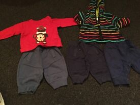 Debenhams blue zoo 3 joggers, jumper and fleece jacket 0-3 months