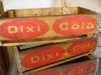 Wooden Vintage Dixi Cola Crates.