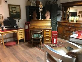 Gorgeous light Oak roll top desk and chair