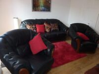 3 piece Sofa set with 3-seat sofa & two armchairs - real leather and wood