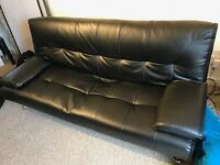 Sofa Bed - Faux Black Leather