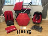 Bugaboo Cameleon travel system pram grey and red and maxi cosi pebble car seat