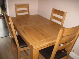 Dining Table,Solid Oak with four chairs