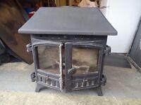 Village Wood Burner 12Kw Double door - good condition with black granite/marble Hearth
