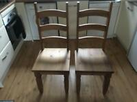 Chunky wood dining chairs x2