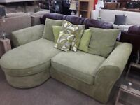 Lime Green Fabric L Shaped Sofa with Detachable Footstool