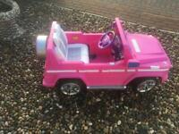 G55 in pink ride on jeep