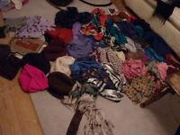 Massive bundle of ladies scarfs, silk, wool, fleece hats, gloves etc