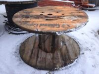 LARGE WOODEN CABLE DRUM REEL / BEER GARDEN TABLE 1.3 METRE