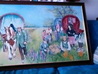 Canvas painting, gypsy scene