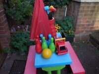 Colourful Children's Picnic Table & Bench 4 Seater Set with Parasol & Play Skittles, golf & fireeng