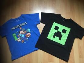 2 x Boys Minecraft T Shirts/Tops Age 8-9 Years