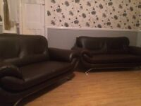 TWO TWO SEATER SOFAS FAUX LEATHER FREE DELIVERY IN LIVERPOOL