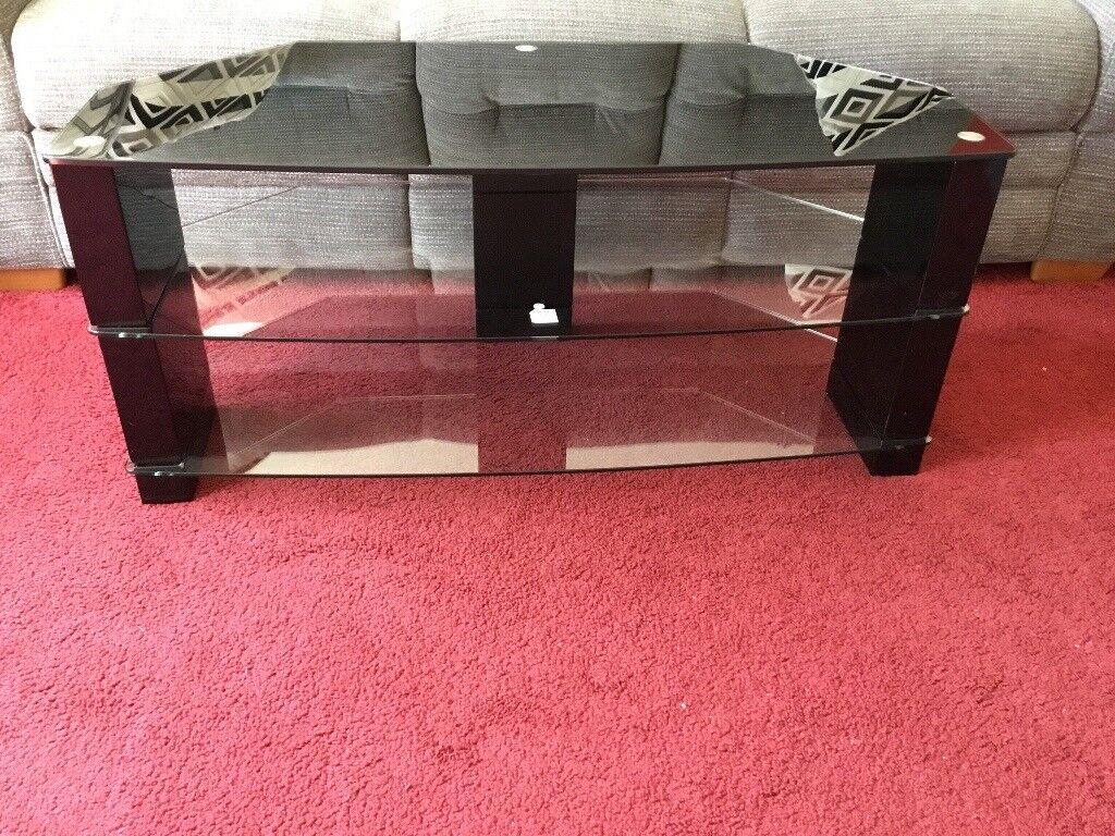 SMOKED GLASS CORNER TV STAND