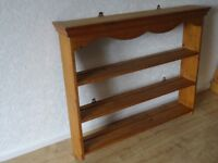 solid pine plate rack unit / pine shelf unit