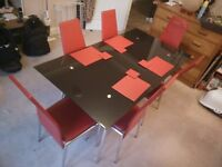 6 Seater Glass Dining Table + Chairs