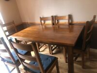 Solid wooden Dining table & chairs x 6