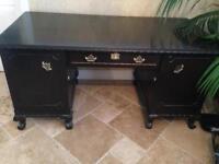 French Antique Louis solid oak pedestal desk office vintage wood