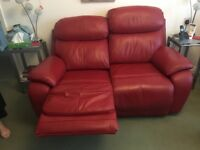 Red 2 seater recliner sofa and rocker