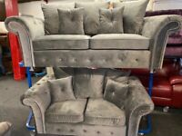 NEW - EX DISPLAY GERY / SILVER VELVET CHENILLE 3 + 2 SEATER SOFAS / SOFA 70% Off RRP