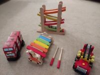 Wooden toys- xylophone,bus,fire engine, EverEarth ramp racer all for £10