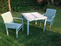 2 solid wood chairs and matching table- shabby chic pale sage green...£50 the set