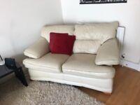 Cream 2 Seater Leather Sofa, Excellent Condition