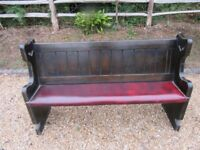 OLD CHURCH PEW WITH OXBLOOD RED LEATHER SEAT. Delivery poss. Also more pews, chairs, table & benches