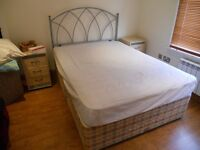 Bed with silver bed frame