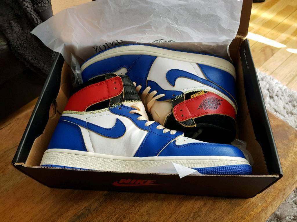 70a11b39524 Brand new boxed Mens Nike Jordan 1 Retro High Union Los Angeles Blue Toe  Size UK 10