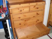 Solid pine changing station/chest of drawers