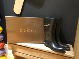 Genuine Gucci black welly wellies boots uk 4 37